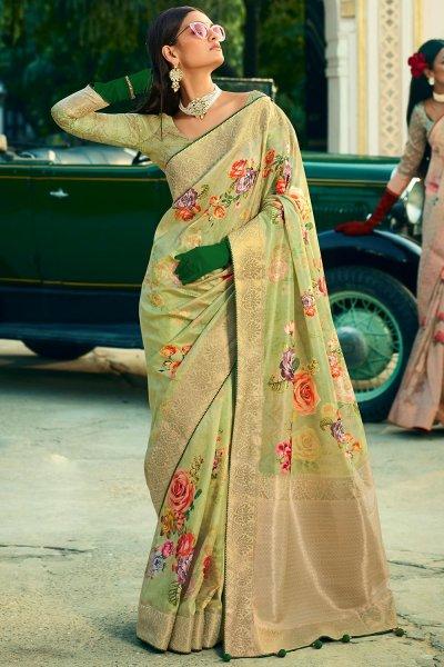 Pista Green Silk Floral Saree
