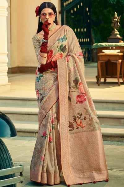 Soft Pink Silk Floral Saree