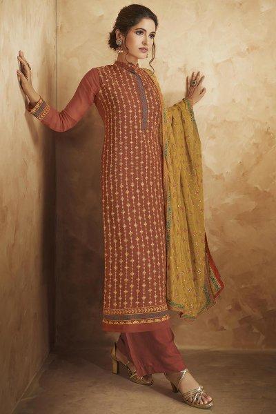 Rust Georgette Embellished Kurta & Palazzo