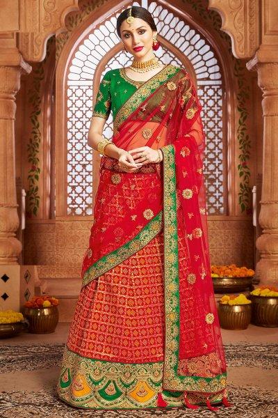 Red Embellished Silk Lehenga