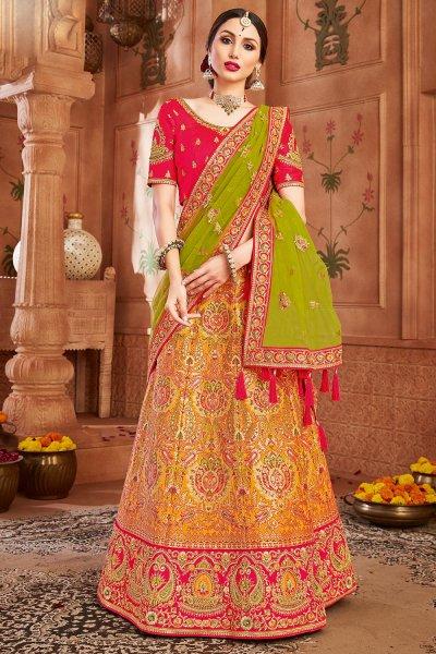 Yellow & Pink Embellished Silk Lehenga