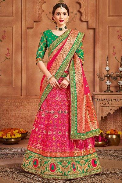 Pink Embellished Silk Lehenga