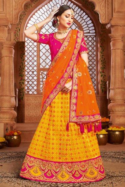 Yellow Embellished Silk Lehenga