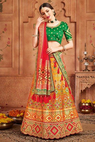 Orange Embellished Silk Lehenga