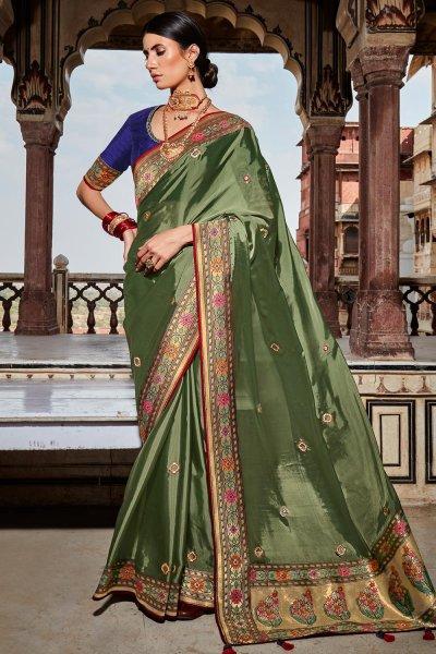 Dark Sage Green Paithani Silk Saree
