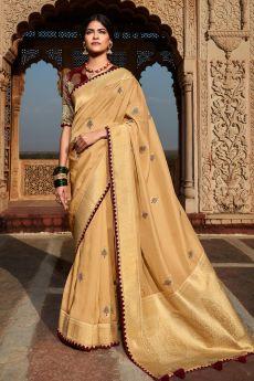 Cream Paithani Silk Saree