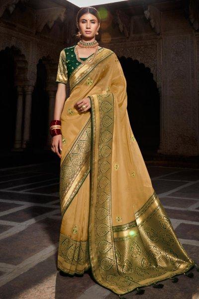 Beige Paithani Silk Saree