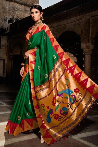 Dark Green Paithani Silk Saree