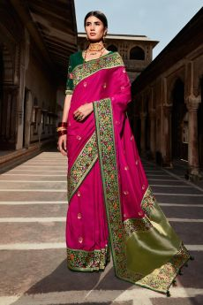 Magenta Paithani Silk Saree
