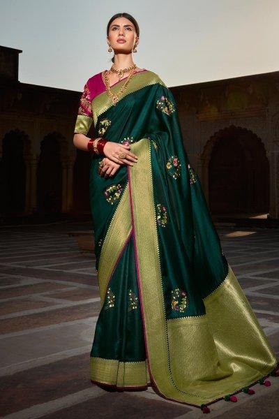 Dark Teal Green Paithani Silk Saree
