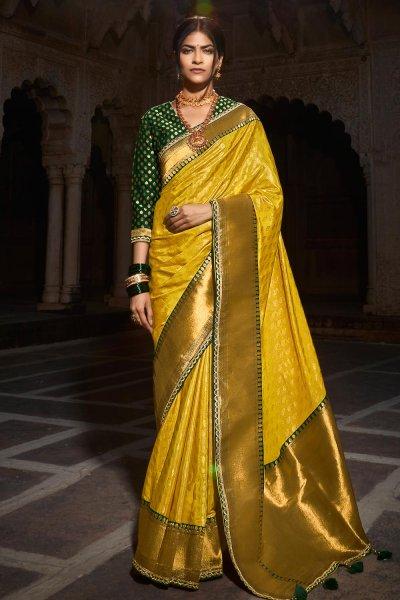 Yellow Paithani Silk Saree