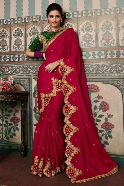 Red Pink Silk Based Embellished Saree