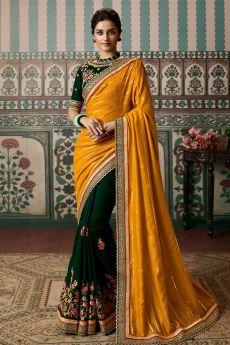 Bottle Green Silk Embellished Saree