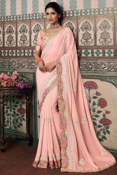Light Pink Georgette Embellished Saree