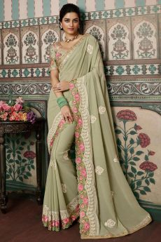 Sage Green Georgette Embellished Saree