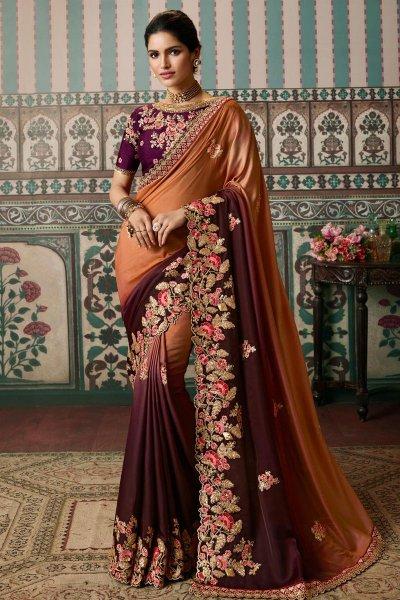 Dark Peach & Plum Luxe Fabric Embellished Saree