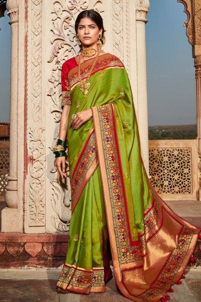 Lime Green Paithani Silk Saree