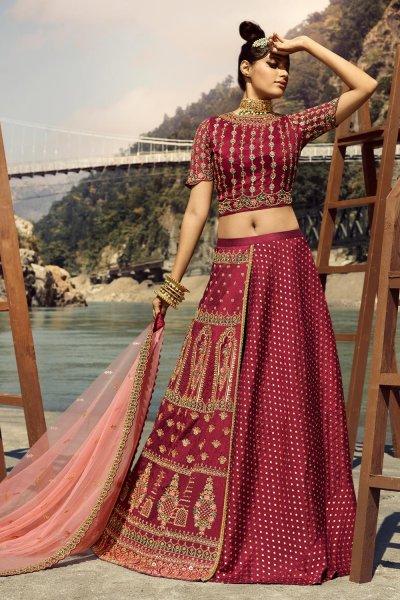 Deep Red Silk Embellished Lehenga