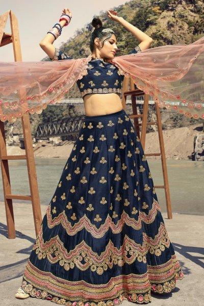 Navy Blue Silk Embellished Lehenga