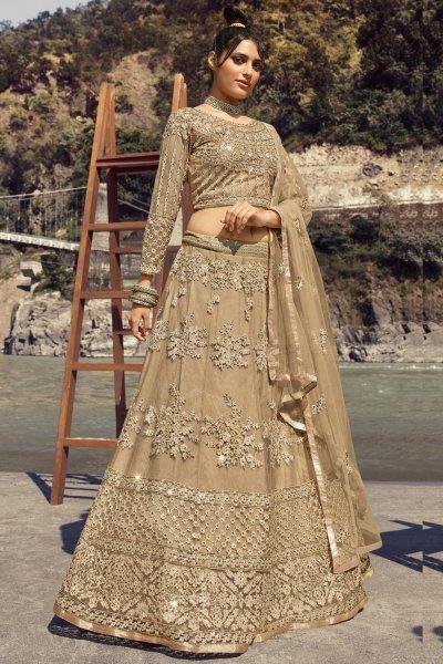 Taupe Net Embellished Lehenga
