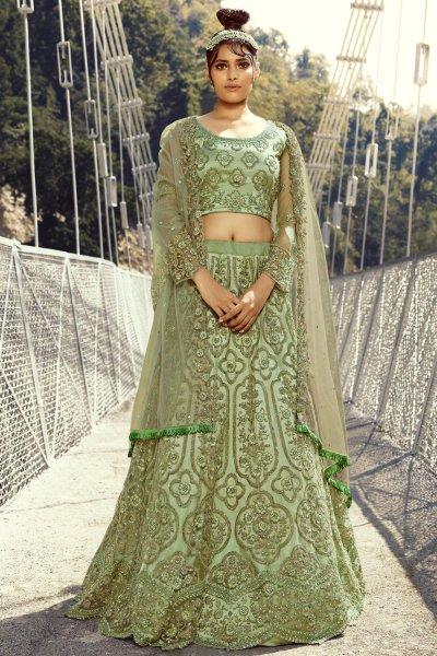 Soft Green Net Embellished Lehenga