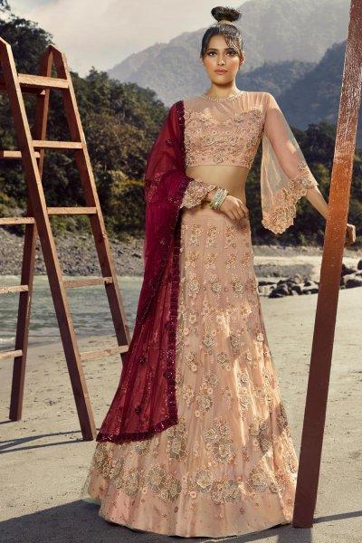 Soft Pink Net Embellished Lehenga