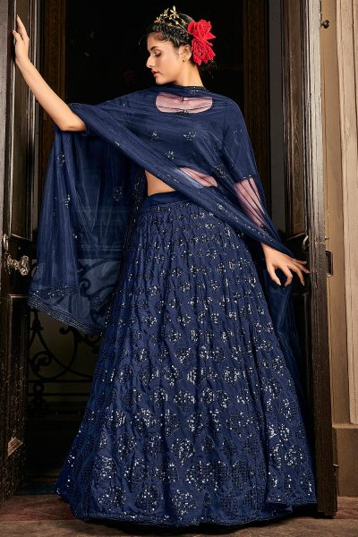 Navy Blue Georgette Embellished  Lehenga Choli