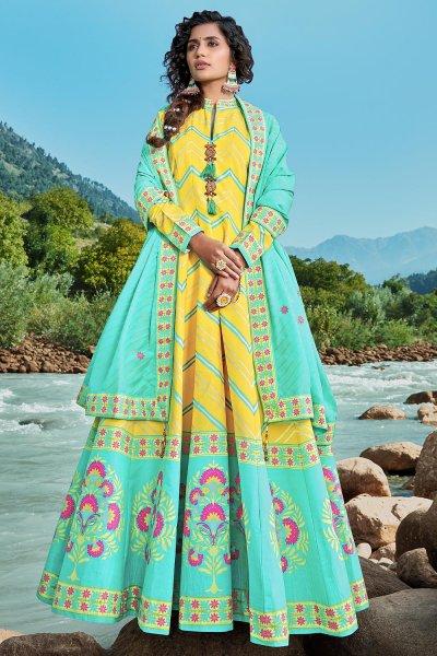 Ready To Wear Aqua Blue & Yellow Silk Patola Print Anarkali Dress