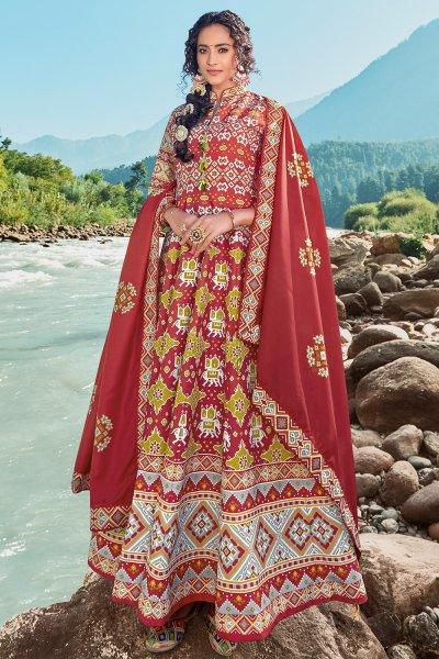 Ready To Wear Dark Red Silk Patola Print Anarkali Dress