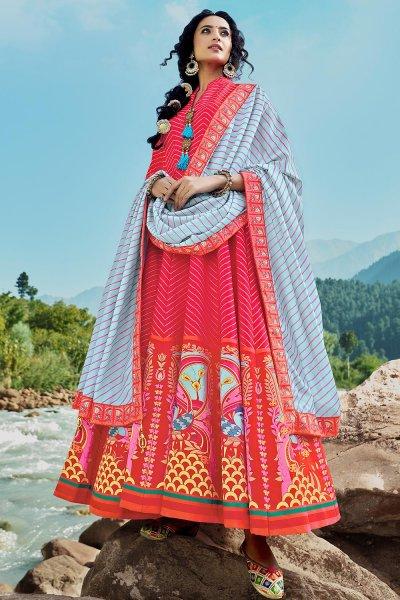 Ready To Wear Red Silk Patola Print Anarkali Dress