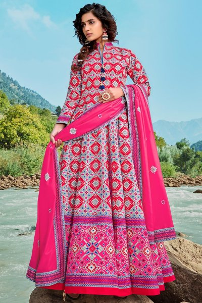 Ready To Wear Pink Silk Patola Print Anarkali Dress