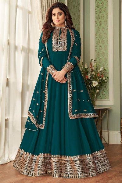 Teal Blue Georgette Zari Embellished Anarkali Suit
