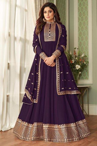 Dark Violet Georgette Zari Embellished Anarkali Suit