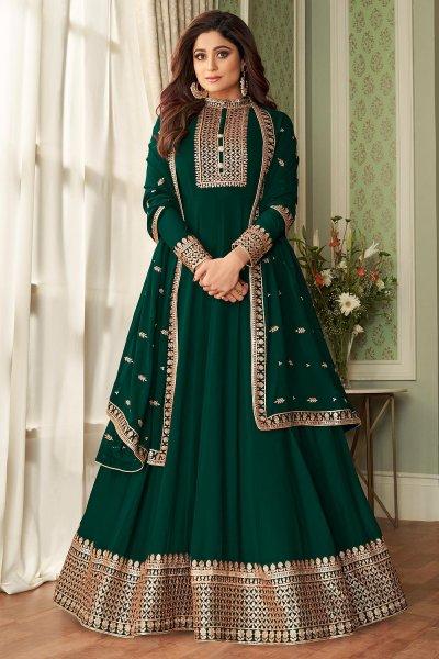 Dark Green Georgette Zari Embellished Anarkali Suit