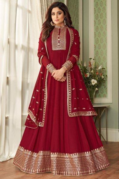 Crimson Red Georgette Zari Embellished Anarkali Suit