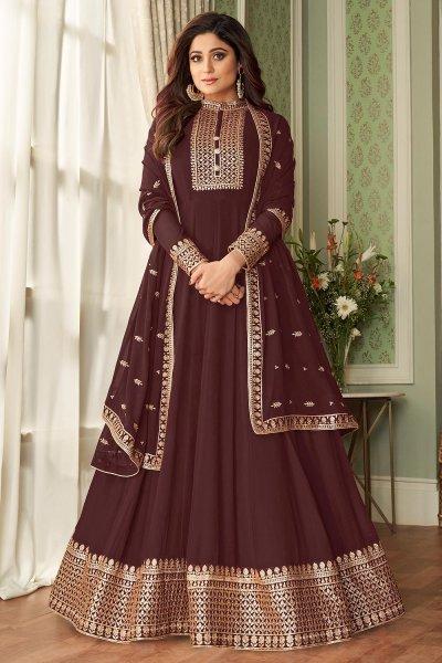 Chocolate Brown Georgette Zari Embellished Anarkali Suit