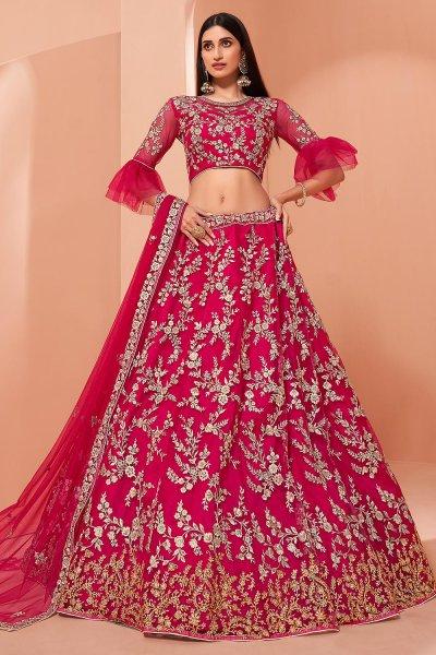 Pink Net Embellished Lehenga Choli