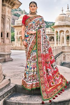 Multi Colour Patola Print Silk Saree