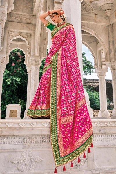 Pink Patola Print Silk Saree