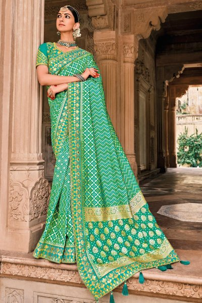 Teal Green Patola Print Silk Saree