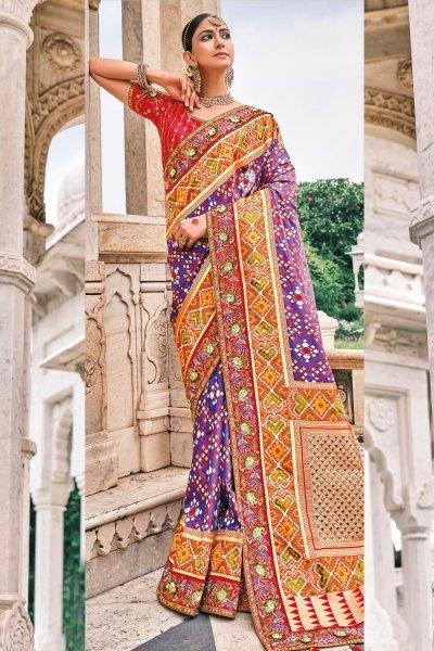 Purple Patola Print Silk Saree