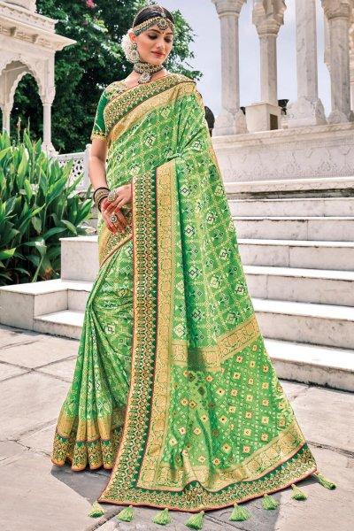 Green Patola Print Silk Saree
