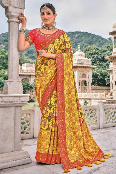 Yellow Patola Print Silk Saree