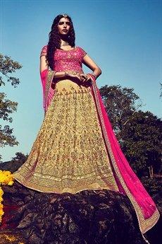 Gorgeous Hot pink and beige Bhagalpuri silk lehenga