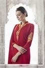 Crimson Red Thread Embroidered Georgette Straight Cut Churidar Salwar Suit