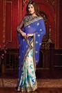 Blue White Tie & Die Chiffon Satin Saree