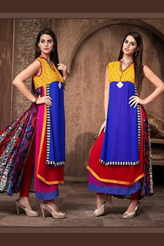 Stunning Designer Georgette Kurti In Layer Style With Complimentary Necklace