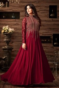 Maroon Party Wear Collared Anarkali Gown