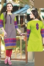Beautiful Printed Kurti With Embroidery In Lime Green