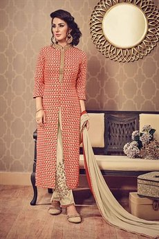 Heart Print Reddish Orange Beige Front Slit Kurti With Embroidered Straight Pants